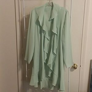 Elegant mint green ruffle front jacket dress